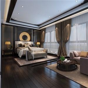 新中式风格卧室装修效果图隔绝一切喧嚣杂念