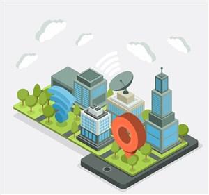 手机上的立体城市建筑矢量素材