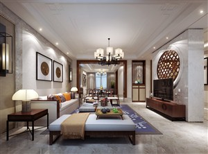 收集整理精美的新中式客厅装修效果图