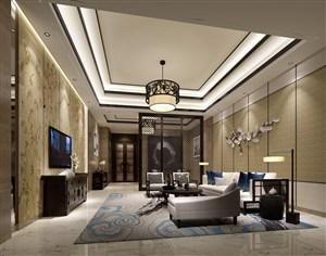 三室两厅新中式客厅装修效果图