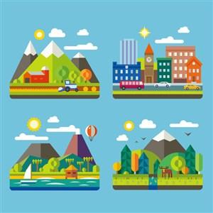 水彩山脉矢量建筑风景画插画