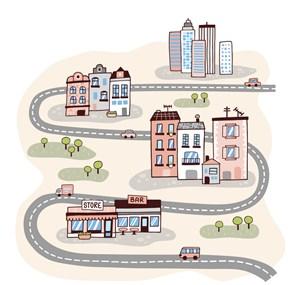 弯曲公路和城市建筑矢量图