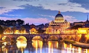 罗马台伯河和圣彼得大教堂夜景高清