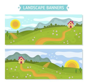 2款创意郊外风景banner矢量图