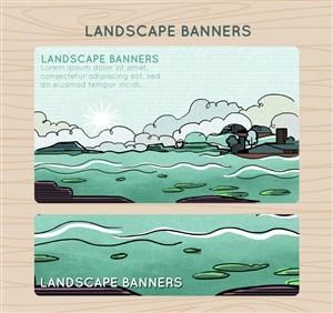 2款彩绘大海风景banner矢量素材