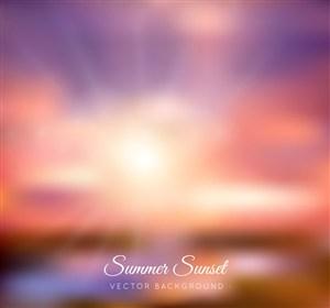 梦幻夏季夕阳风景矢量素材