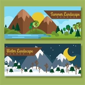 2款夏季和冬季郊外风景banner矢量图