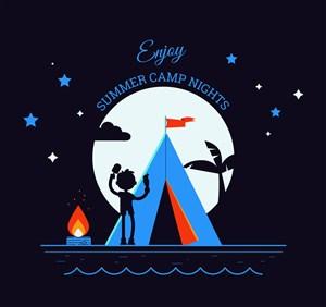 創意夏季夜晚野營男子剪影矢量圖