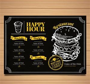 创意餐馆菜单设计矢量素材