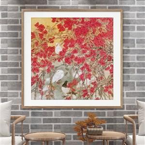 中式喜庆鲜艳色彩鸽子三角梅水彩工笔装饰画