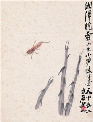 齊白石蚱蜢與草國畫圖片