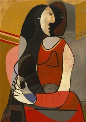 畢加索抽象立體派坐著的女人油畫圖片