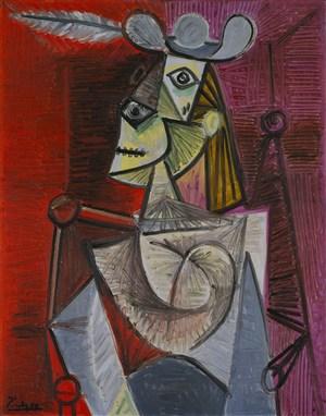 畢加索抽象作品扶手椅上的女人