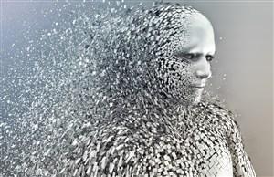 無數個白色碎片組成的機器人