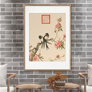 燕子和桃花装饰画