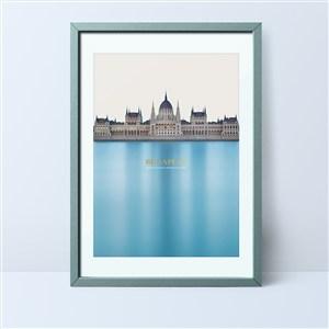 欧式城堡大片海洋美式装饰画