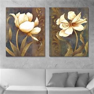 复古白金花草木花朵美式装饰画