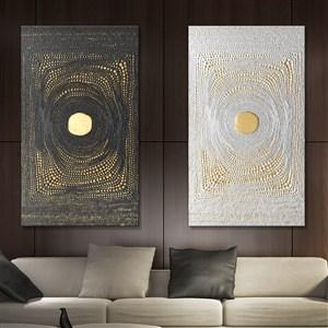 酒店卧室装饰画--北欧金箔装饰画素材
