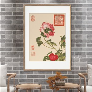 红牡丹花装饰画