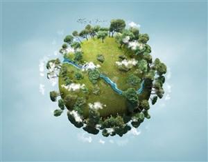 長滿綠色樹木和草地的地球模型