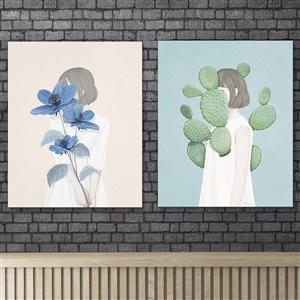 北欧美少女花朵仙人掌手绘人物装饰画