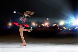旋轉舞蹈的滑冰小女孩圖片