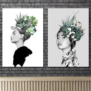 素描动物花朵女性创意人物装饰画