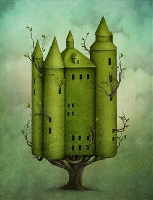 樹上的歐式屋子高清圖片