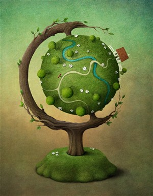 樹木造型的地球儀高清圖片