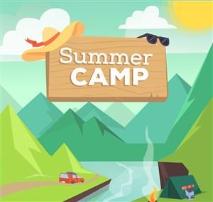 创意夏季野营自然风景矢量素材