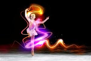 特效炫彩小女孩滑冰舞蹈運動圖片