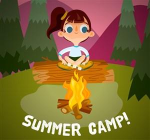 可愛夏季野營中的女孩矢量素材