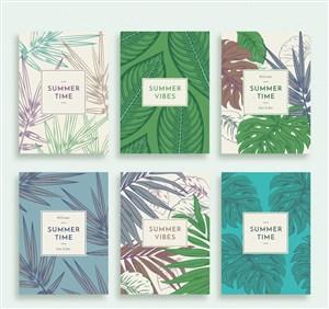 6款彩繪夏季樹葉卡片矢量素材