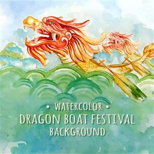 中式传统节日端午节赛龙舟矢量素材江水波浪矢量素材