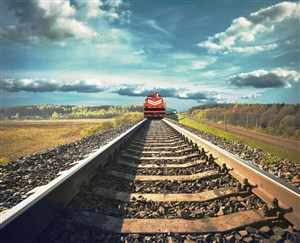 驶向远方的火车高清摄影图片