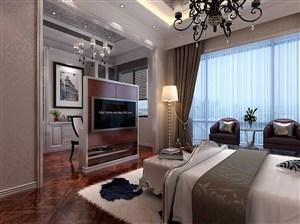 欧式风格卧室电视机隔断装修效果图