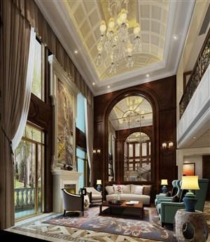 歐式風格別墅客廳吊頂裝修效果圖