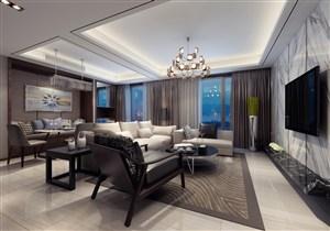 休息室一体的三居室客厅装修效果图