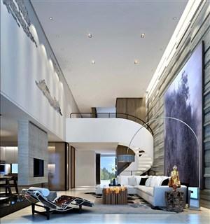 新中式壁画别墅客厅设计图片