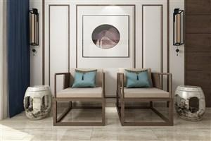 新中式休息室装修效果图