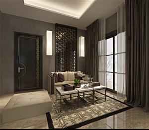 二居室新中式客厅装修效果图