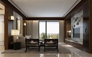 三室两厅新中式客厅设计图片