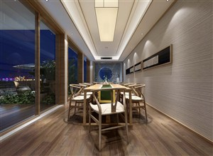 采光风景甚好新中式茶室装修效果图