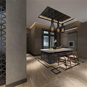 时尚与新中式完美搭配餐厅装修效果图