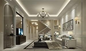 歐式風格別墅客廳效果圖