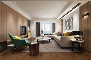 金屬豎條拉絲背景墻現代風格客廳裝修效果圖