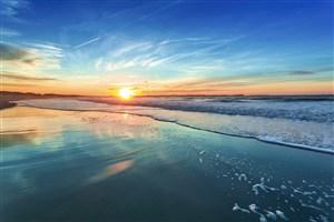 高清海邊落日風景圖片