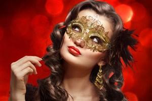 舞會狂歡戴面具的美女圖片