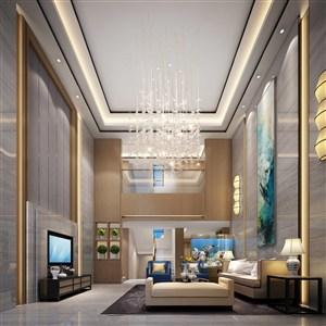 新中式水彩壁画别墅客厅装修效果图
