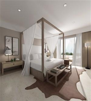 新中式原木色架子床主卧室装修效果图